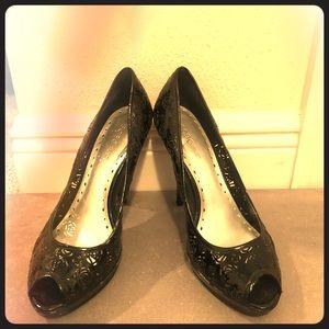 BCBGirls! black heels - floral design